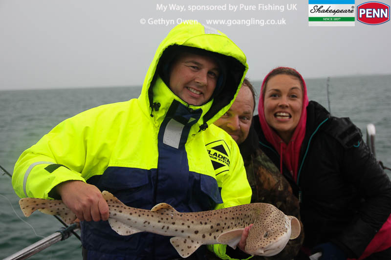 Great photo of local rod Gav with his first huss , as you can see it was quite a wet and dark day. Always brightened though by the endless mad cap humour that can ensure aboard My Way, especially for Gav when fishing with colleagues Rich and Sdeff
